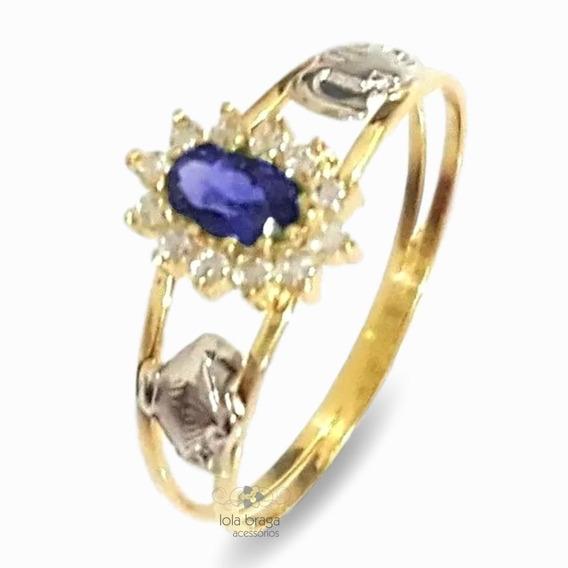 Anel De Formatura Em Ouro 18k Feminino Delicado Com Pedras