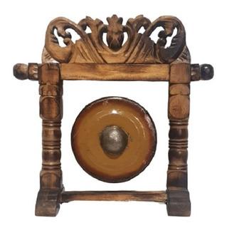 Gong Decorativo Con Marco Tallado En Madera De Indonesia