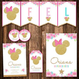 Kit Minnie Dorado Invitaciones, Stickers, Banderín Impreso