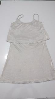 Elegante Vestido Acananalado Color Plata Talla L