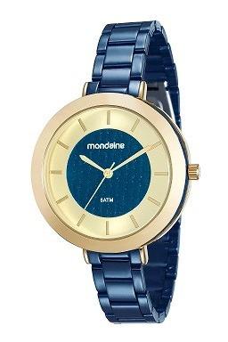 Relogio Mondaine Feminino Dourado E Azul 99172lpmvle3