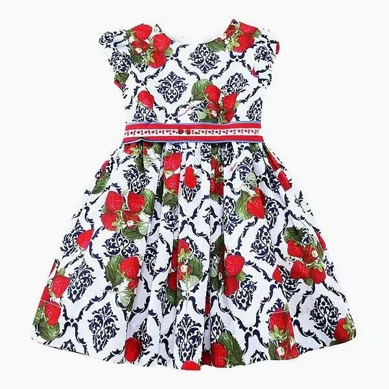 Vestido Premium D G Infantil Morangos