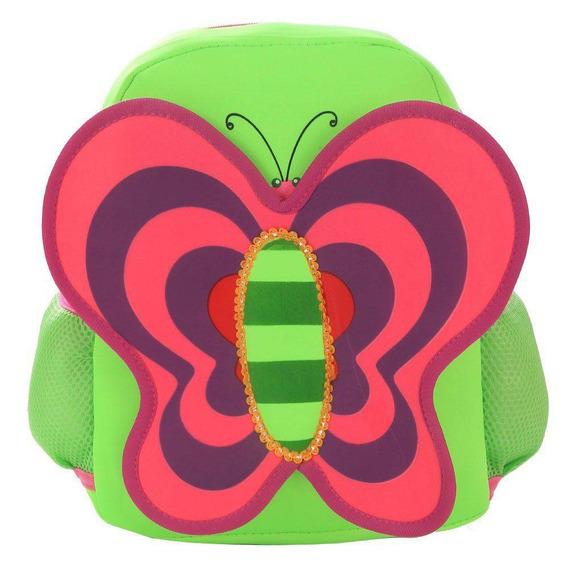 Mochila Escolar Infantil Borboleta- Verde