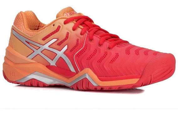 Tênis Asics Gel Resolution 7 Red Alert Silver All Court Fem