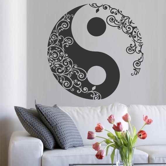Adesivo Decorativo De Parede Mandala Yin Yang Floral 1x1m