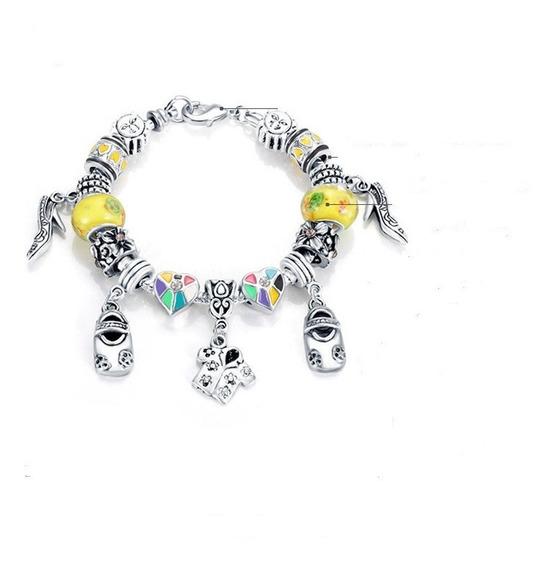 Pulseira Estilo Pandora Bracelete 15 Berloque + Trava