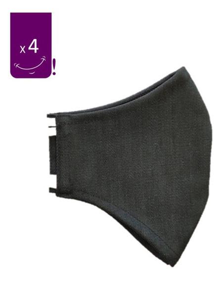 Mascarilla Anatómica Reutilizable Antifluidos Negro X4