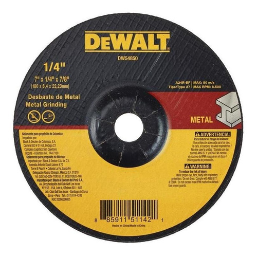 Disco Abrasivo Desbaste T27 7  X 1/4  Dewalt Dw54850