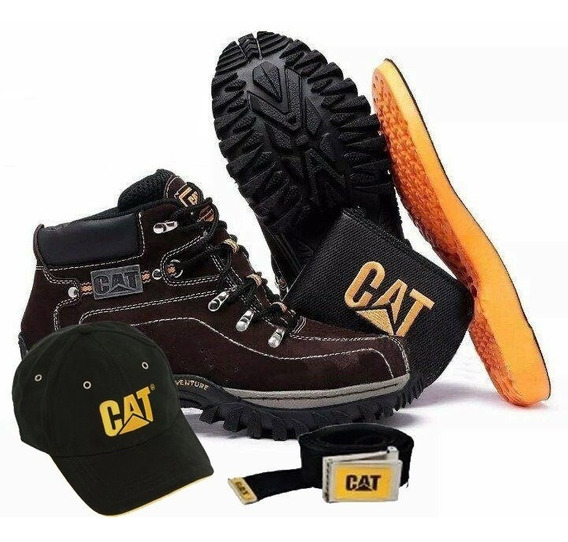 Kit Bota Adventure Caterpillar Carteira + Cinto + Bone