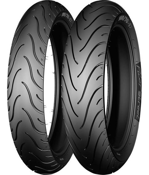 Par De Pneu Michelin 110-80-14 E 80-90-17 Pilot Street Honda Biz 100 110 125 Pop 100 110