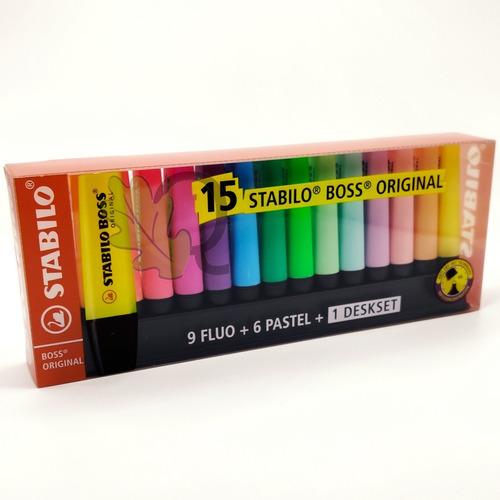 Stabilo Boss Deskset 15 Pzs  (9  Neon Y 6 Pastel)  + Base