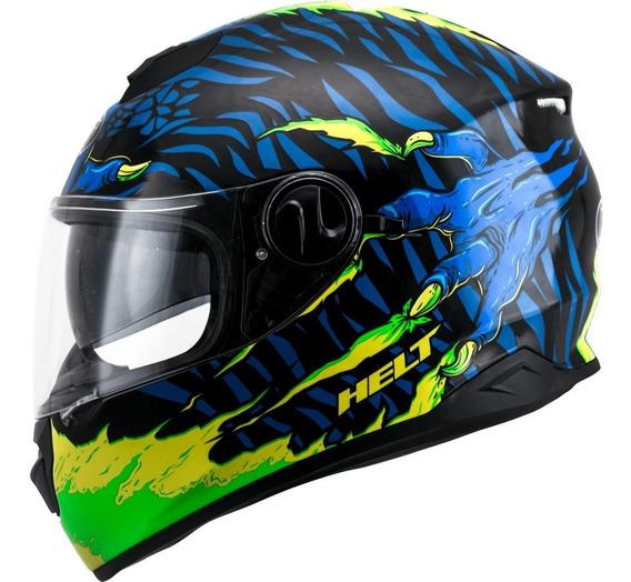 Capacete New Race Glass Monster N°60 Verde C/ Azul Helt Gjb