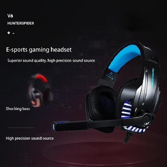 V6 Universal 3.5mm Fone De Ouvido Com Fio Azul