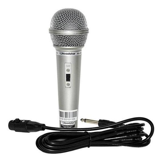 Microfone Com Fio Prata Dinâmico Karaokê Profissional Dm701