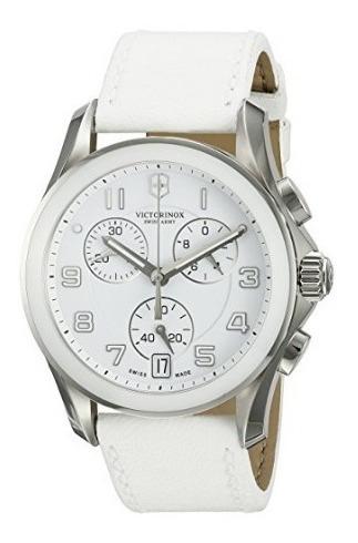 Relógio Suíço Victorinox Swiss Army Couro Branco Cronografo