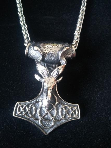 Colar Martelo De Thor Grande - Viking - Mjölnir - Força Aço