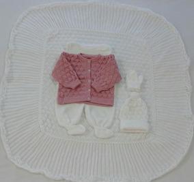 Saída Maternidade Manta Gorro Luva Casaco Salopete Ref. 196