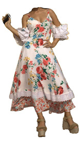 Vestido Dama, Falda Campana Flores.