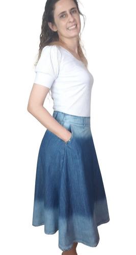Saia Jeans Midi Rodada Tipo Joyaly  Moda Evangélica