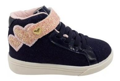Tênis Infantil Klin Baby Moon Marinho/rosa Original Velcro