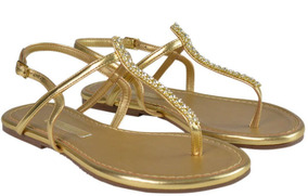 Sandália Rasteira Dourada Com Detalhe Em - Frete Gratuito