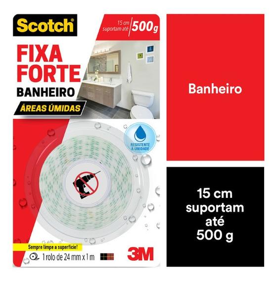 Fita Dupla Face 3m Scotch Fixa Forte Banheiro 24mmx1m
