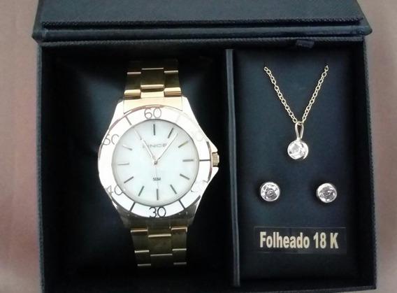 Relógio Feminino Lince Lrgj067l Com Conjunto De Semi Jóia
