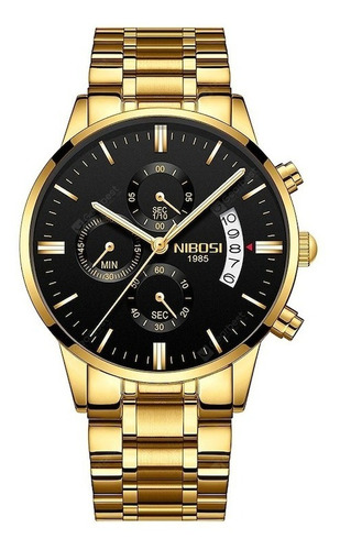 Relógio Masculino Nibosi 100% Funcional Dourado Importado