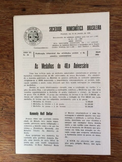 Boletim Nº 20 Da Snb - São Paulo - Abril De 1.964