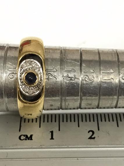 Anel Em Ouro Com Brilhantes E Pedra, Aro 15 Peso 3.8 G