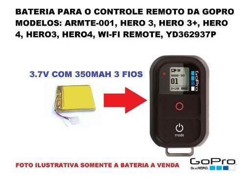 Bateria Gopro Hero Wi-fi Para Controle Remoto 3,7v 350mah Cr