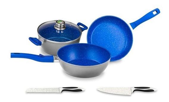 Bateria Cocina Flavor Stone Master Set 5pzs Azul 039135mx