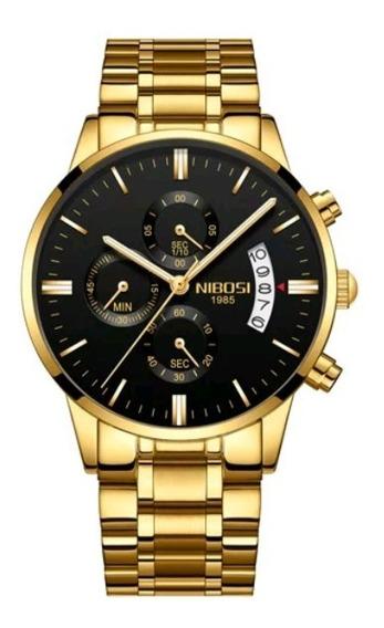 Relógio Nibosi Masculino Original Funcional Dourado