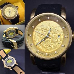 Relógio Masculino Dragon Automático+ Caixa Amarela