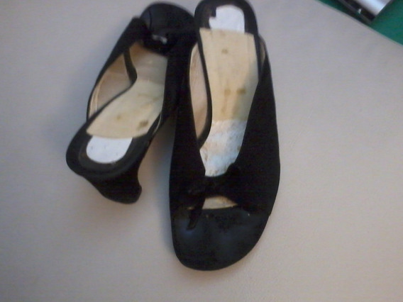 Sandalias De Mujer Talle 38 Con Suela Febo Color Negro