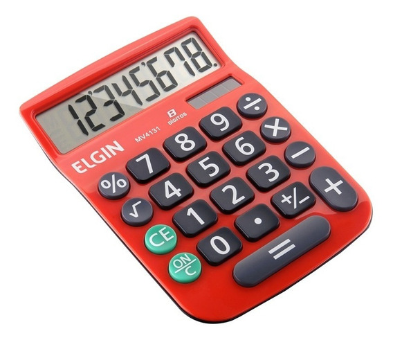 Calculadora De Mesa 8 Dígitos Vermelha C/ Célula Solar Elgin
