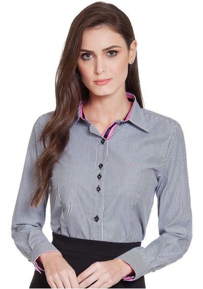 Camisa Social Feminina Listrada Ana Cláudia