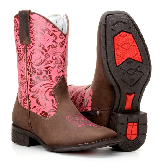 Bota Country Texana Infantil Em Couro Rodeo Western 4country