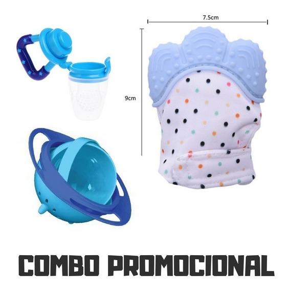 Kit Promoção Bebê Luva Mordedor + Chupeta + Pratinho Menino