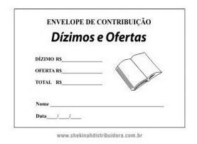 Envelope Para Dizimos E Ofertas Na Cor Branca Com Fita Adesi