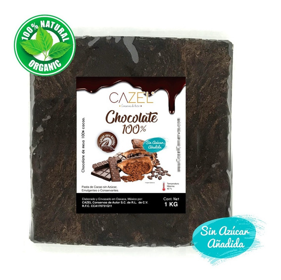 Chocolate 100% Cacao Amargo Oaxaca 1 Kg En Tableta Natural