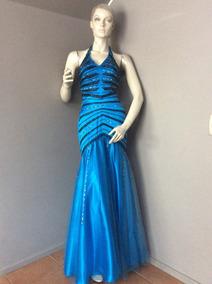 Po Vestido Largo Azul Con Negro De Fiesta, Talla Xs.