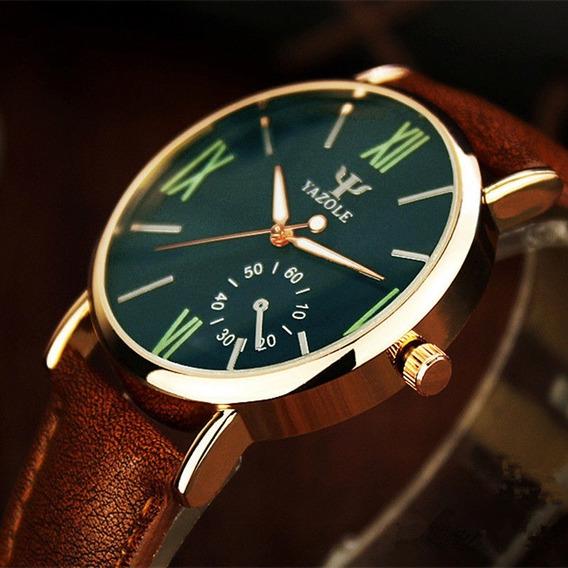 Relógio De Pulso Luxo Masculino Feminino Yazole 327 Couro