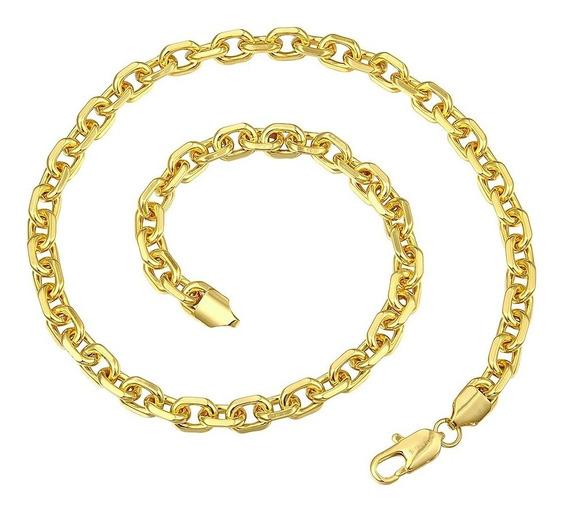 Corrente Masculina Banhada Em Ouro Amarelo 18k Com 3 Camadas