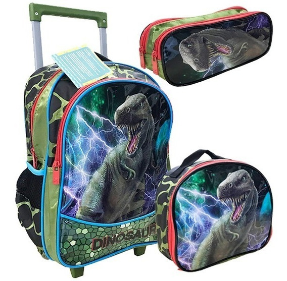Kit Mochila Infantil Dinossauro Rex Rodinhas Tam Yepp Verde