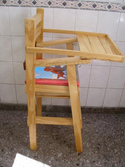 Silla Para Bebé De Comer Bandeja Pino Barnizada Madera