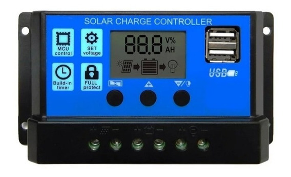 2 Controladores Solar 30a 12/24v Com Usb