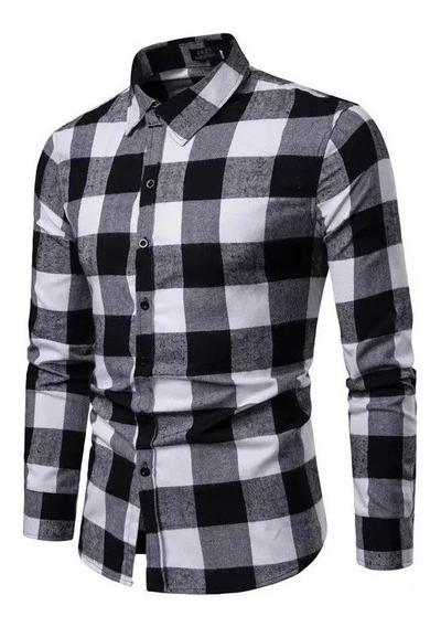 Camisa Hombre Entallada Escocesa Cuadros Vs Colores Talles