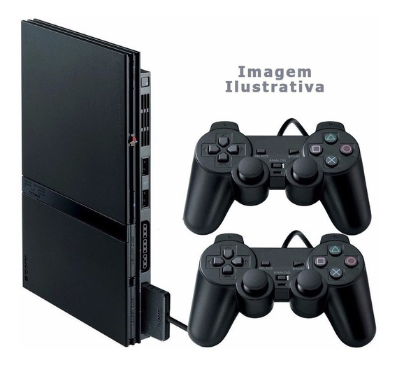 Playstation 2 Slim + 2 Controle + Memory Card + Completo