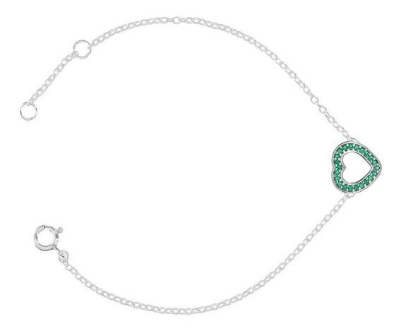 Pulseira Com Coração Vazado Verde Esmeralda Prata Rodinada